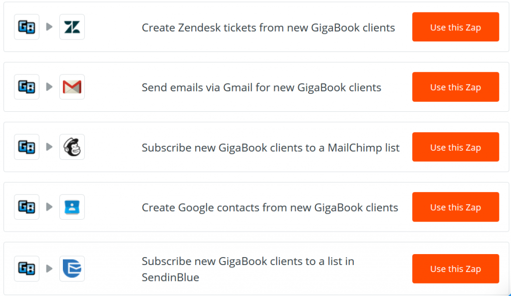 GigaBook connects with Zapier