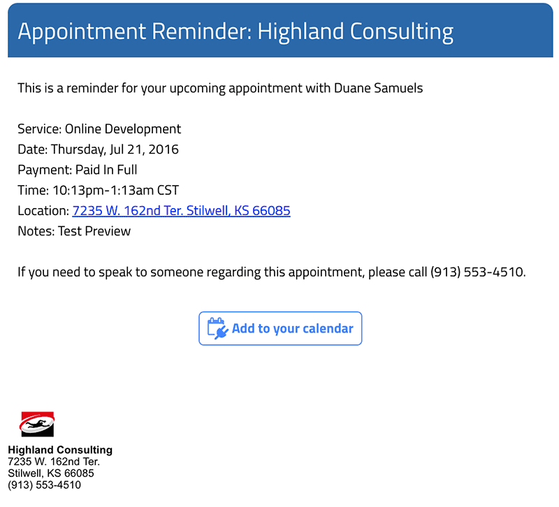 Automatic Appointment Reminders